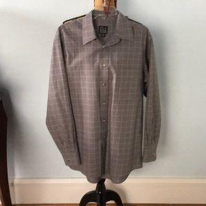 Jos. A Bank Traveler's Collection grey plaid shirt